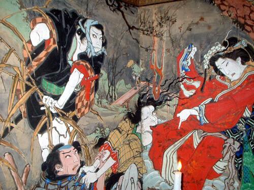 高知「絵金祭り(須留田八幡宮神祭)」「伊達競阿国戯場」絵金の屏風絵の一部分