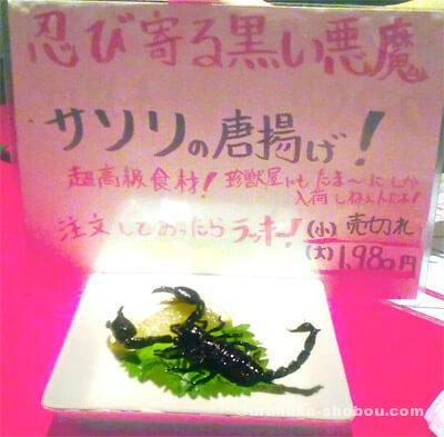 珍獣屋のサソリの唐揚げ+メニュー
